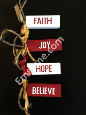 Jenga Ornaments Faith #handmade #ornament #wood #faith #christmas #holiday #decor #hope #joy