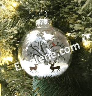 Winter Scene with Deer and Bird #christmas #ornament #decor #holiday #reindeer #deer #tree
