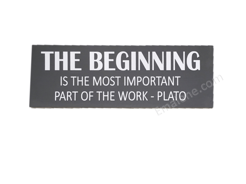 The Beginning Wood Sign