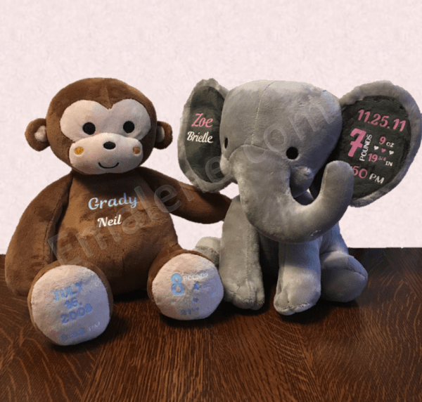 Personalized Baby Keepsakes - Elephant and Monkey #baby #gift #custom #weight #name #date #animal #stuffed