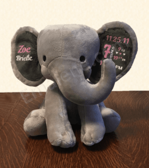 Personalized Baby Keepsake - Stuffed Elephant Gray #baby #keepsake #elephant #custom #personalized #weight #name #gift