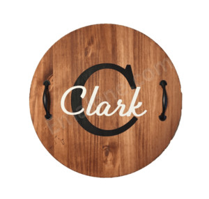 Monogram Wood Tray Handles - #round #tray #wood #handles #handmade #custom #personalize #decor