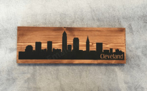 Cleveland Skyline Wood Sign #cleveland #city #skyline #woodsign #handmade #custom #homedecor #wallhanging