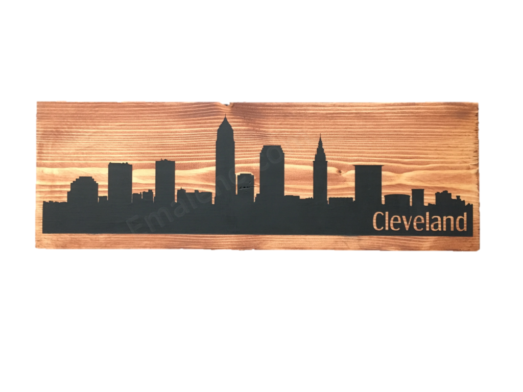 Cleveland Skyline Wood Sign