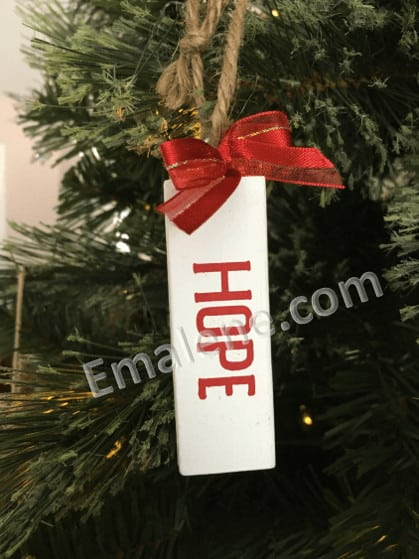 Jenga Ornament Hope #christmas #holiday #ornament #wood #hope #handmade