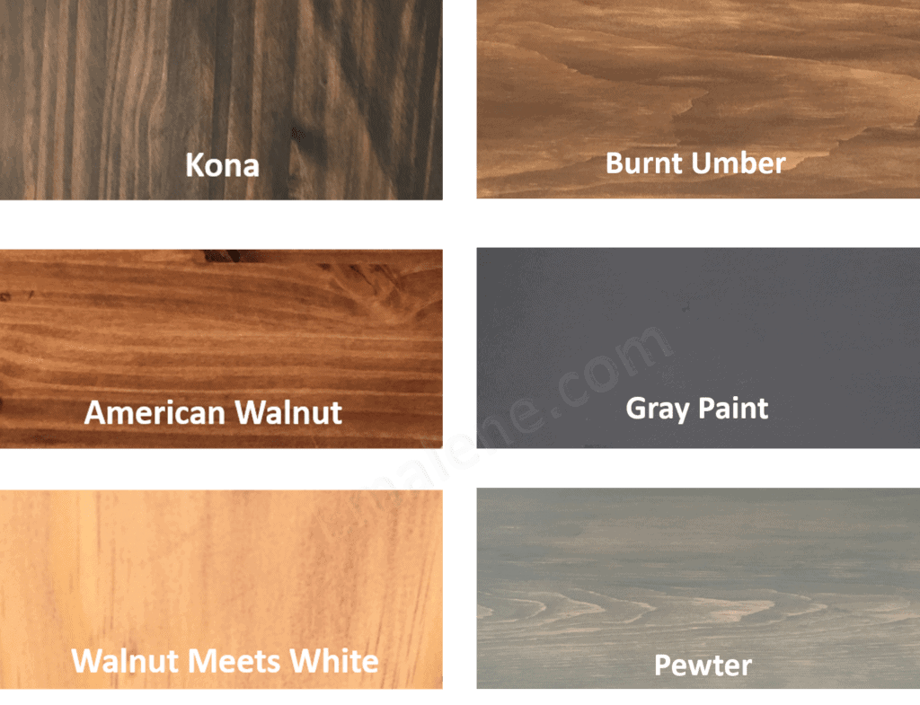 Stains and Paints #kona #Americanwalnut #gray #pewter #americanmeetswhite #burntumber