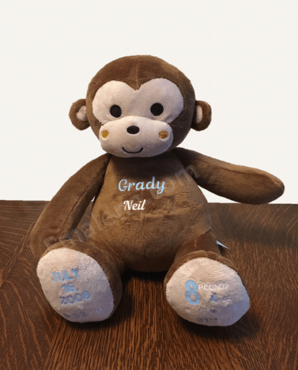 Personalized Baby Keepsake - Stuffed Monkey #gift #baby #monkey #keepsake #date #birth