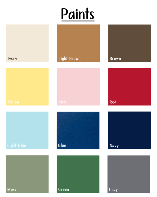 14 different paint options on a white background
